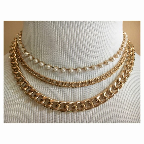 b8844caca Nordstrom Jewelry | New Chunky Chain Link Three Layer Pearl Necklace ...
